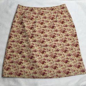 J. Crew rose print cotton pencil skirt 8